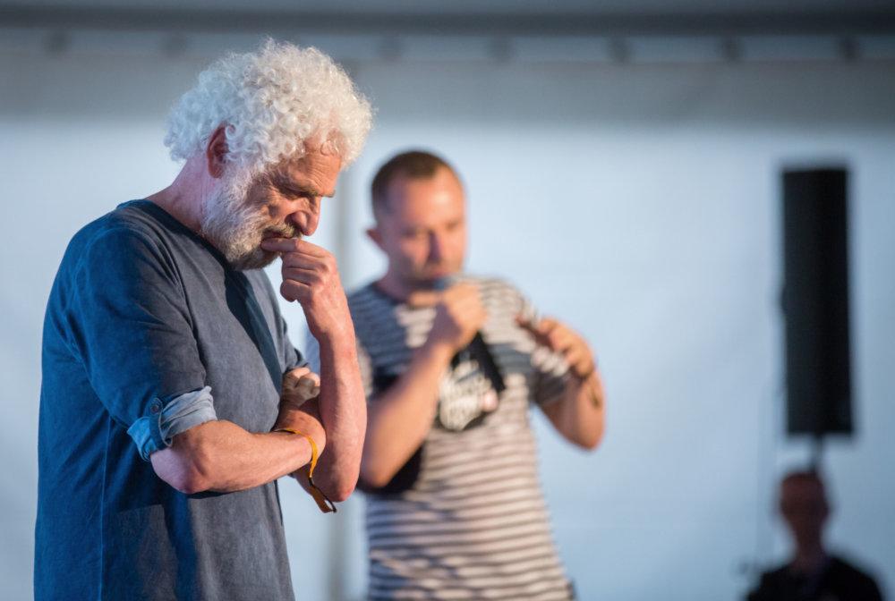 Na Pohode Fedor Gál diskutoval s Mišom Kaščákom o tom, či sa má rozprávať s fašistami. Foto N - Tomáš Benedikovič