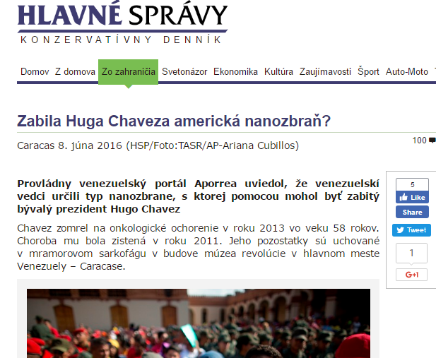 Zabila Huga Chaveza americká nanozbraň Hlavné správy