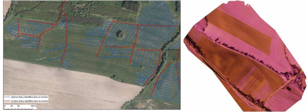 Pomocou dronov sa dnes vytvárajú aj špeciálne mapy pre poľnohospodárov, na ktorých sú vidieť staršie podzemné odvodňovacie systémy, ktoré zo zeme nie sú nevidieť. Foto - J. Karas