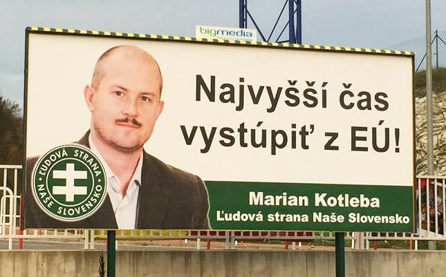 Bilbord ĽSNS pred parlamentnými voľbami 2016. Zdroj – Kotleba-ĽSNS