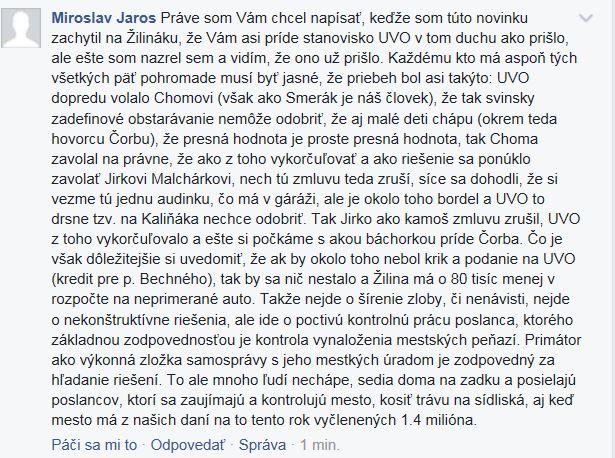 reakcia Miroslava Jaroša