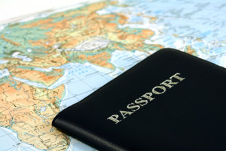 Travel with passport and map