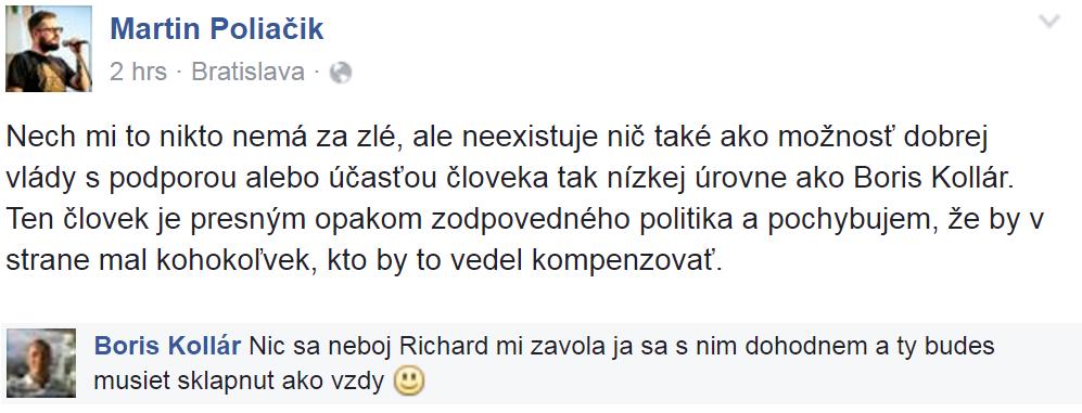Výmena Poliačika a Kollára na Facebooku