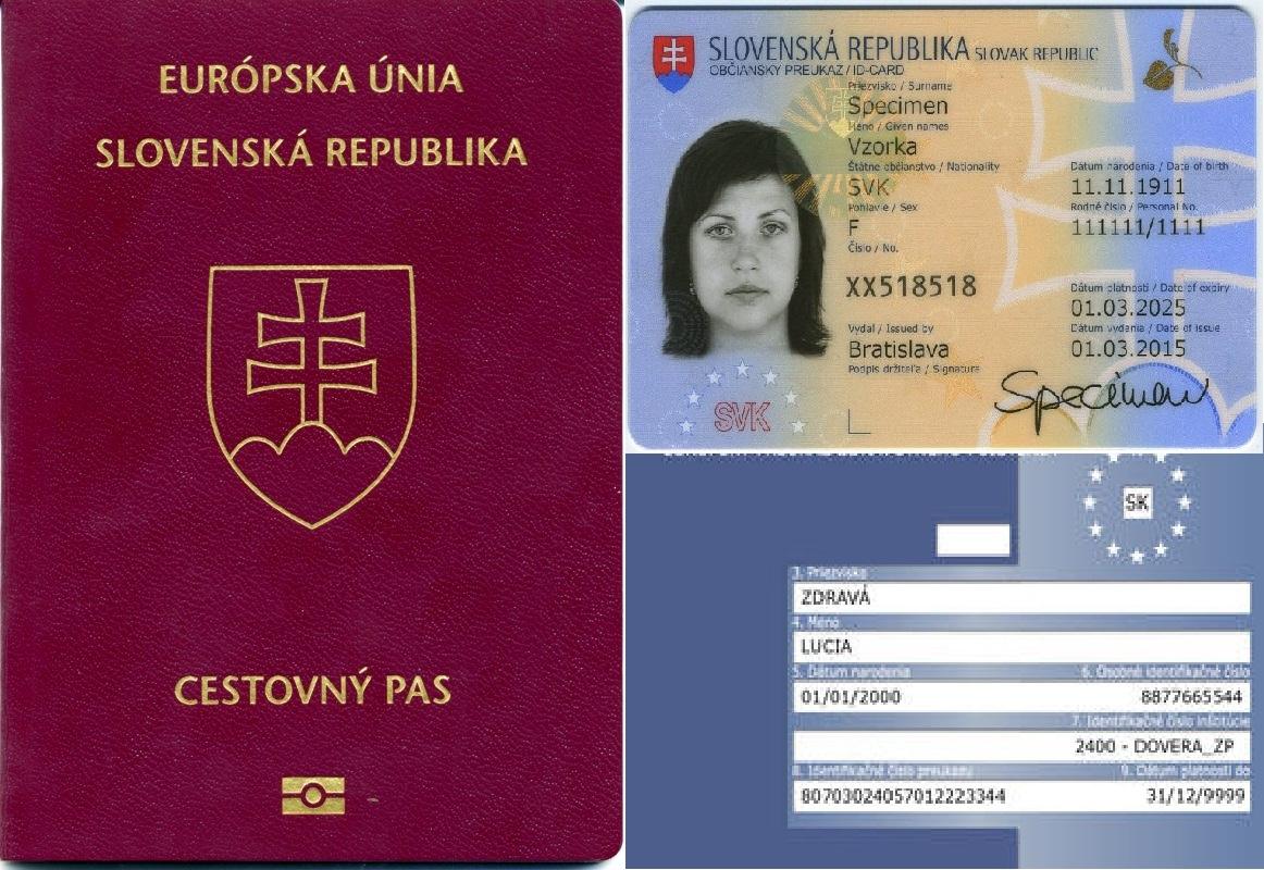 Cestovný pas, občiansky preukaz a európsky preukaz zdravotného poistenia v súčasnej podobe. Reprofoto – internet