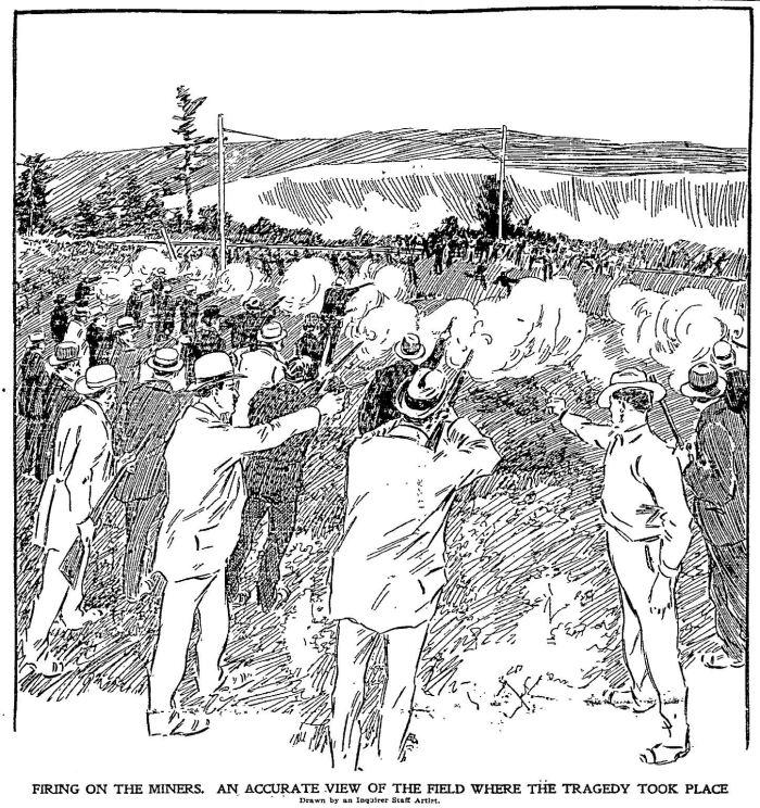 Streľba trvala najmenej minútu a pol, niektorí hovorili,že až tri minúty. Zdroj - Philadelphia inquirer, 12. 9. 1897