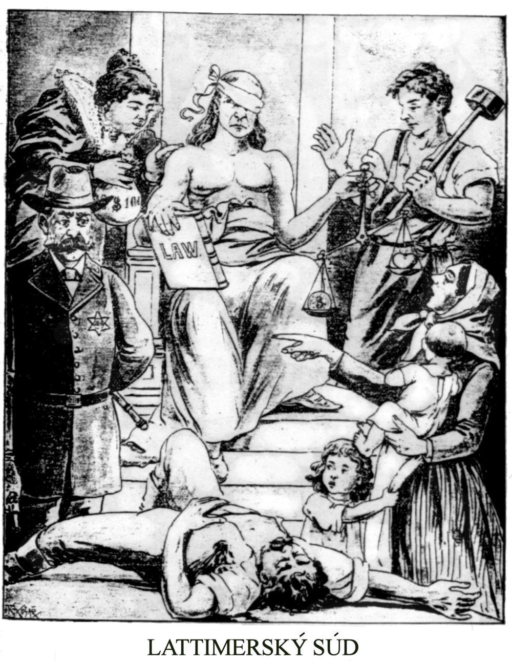 Takto videla proces tlač Slovákov v Amerike. Manželka Mika Cheslocka ukazuje na šerifa Martina, ktorého však podplatená spravodlivosť prepustila. Zdroj - Národný kalendár 1899