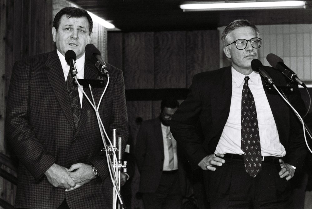 Václav Klaus a Vladimír Mečiar (október 1992). Foto: TASR