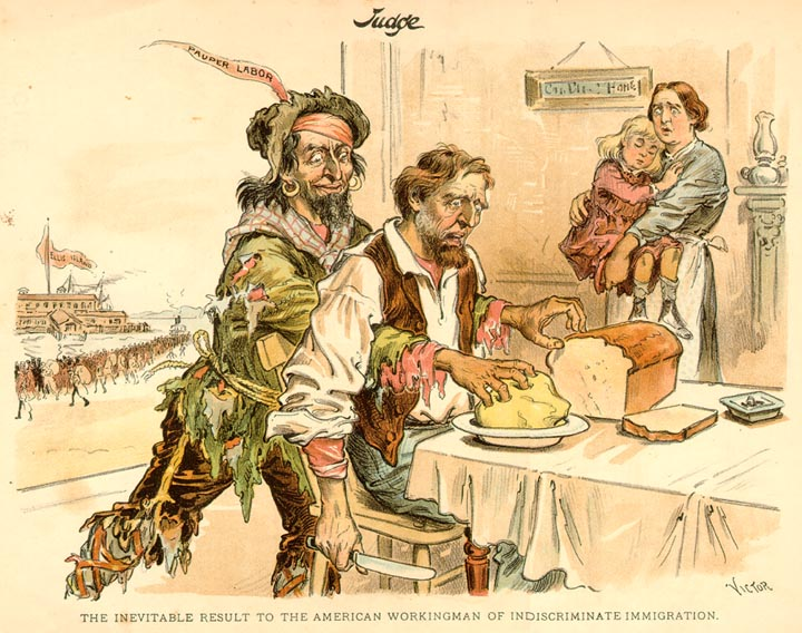 Karikatúra, ktorá vystihuje postoj mnohých Američanov k novým emigrantom z chudobnej východnej Európy. Zdroj -