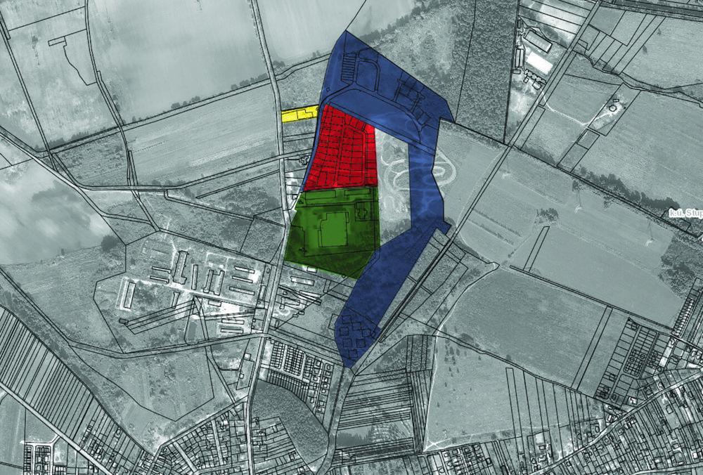 Modrou farbou sú zaznačné pozemky, o ktoré bez náhrady prišla Stupava a dnes sú určené na bytovú výstavbu. Červenou sú súkromné pozemky, ktoré sú súčasťou projektu Pod Kopcami, dnes tu stavia aj zastupiteľ Balog. Žltou je firma Častulík a zelenou nástrojáreň Volkswagenu. Grafika N - Miro Čevela