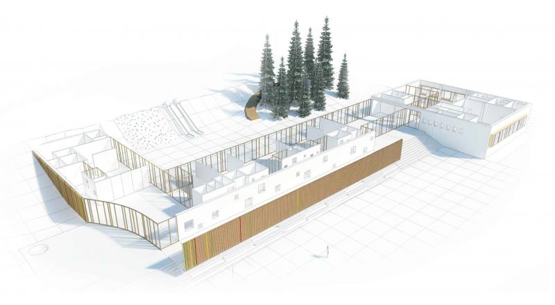 Víťazný návrh ateliéru B52 na materskú školu v malej obci Selce neďaleko Banskej Bystrice. Vizualizácia - B52