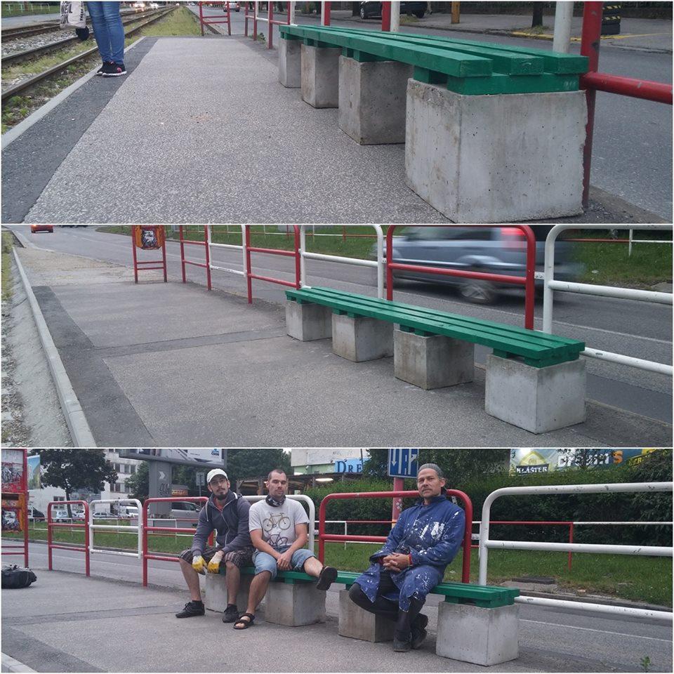 Náš najúspešnejší zásah v roku 2016, kedy sme na oboch električkových zastávkach Riazanská osadili tieto jednoduché lavičky. Zriedka ich vidieť prázdne ;-)