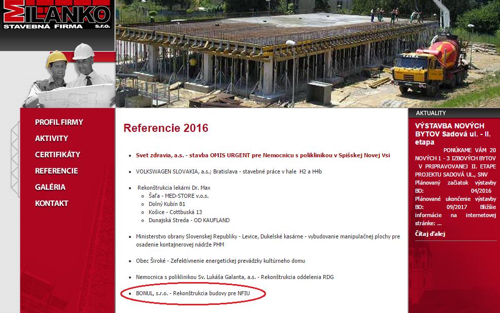 MILANKO spol. s r.o. Súkromná stavebná firma Referencie 2016
