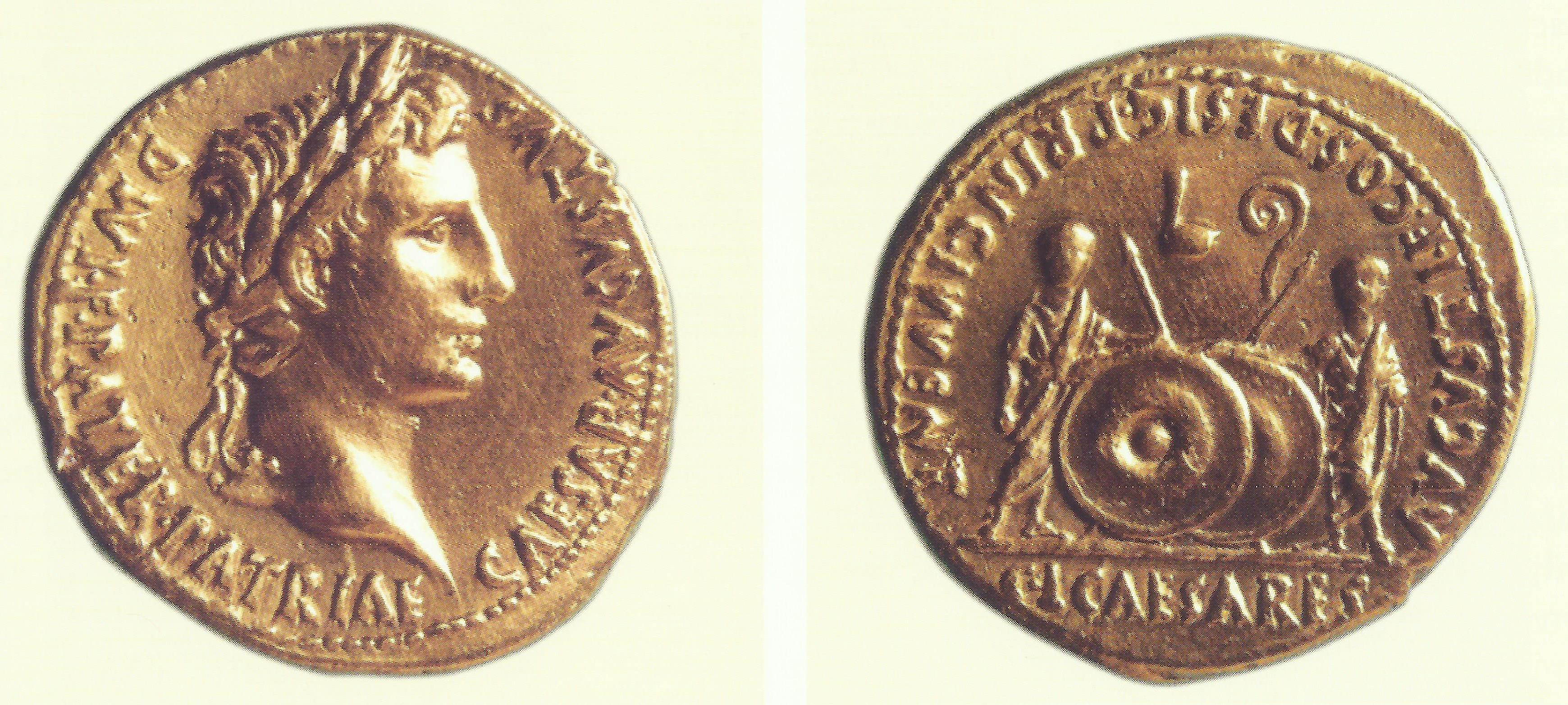 Minca (aureus) cisára Octaviana Augusta, 2 pred n. l. – 4 n. l., Bratislava-Devín