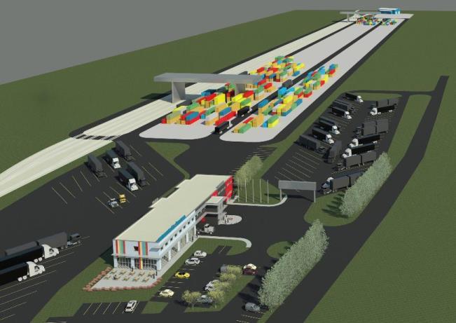 Vizualizácia žilinského terminálu, na ktorej je zakreslená ešte moderná administratívna budova, ktorá sa mala vybudovať v druhej etape. Zdroj - Intermodal.sk