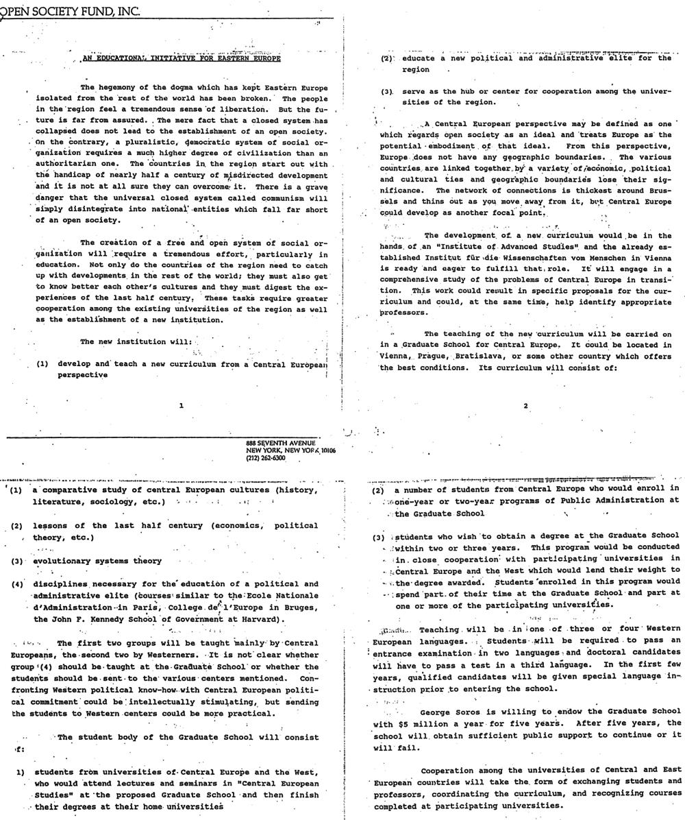 An Educational Initiative for Eastern Europe - prvý písomný materiál obsahujúci projekt univerzity z 2. apríla 1990. Zdroj: archív Aleny a Pavla Brunovských
