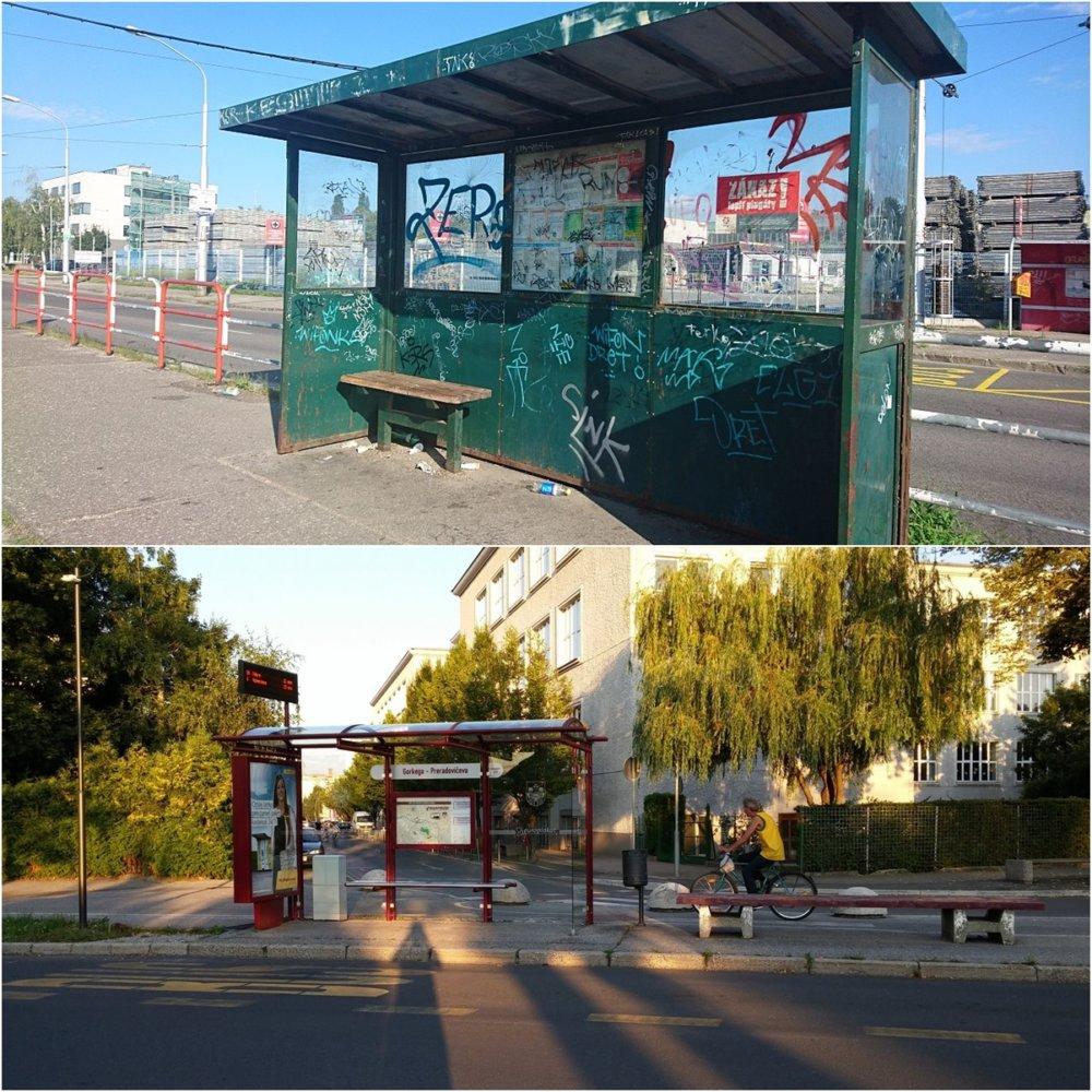 Električková zastávka v Bratislave vedľa areálu dopravného podniku Jurajov Dvor vs. v podstate bezvýznamná autobusová zastávka v slovinskom meste Maribor.