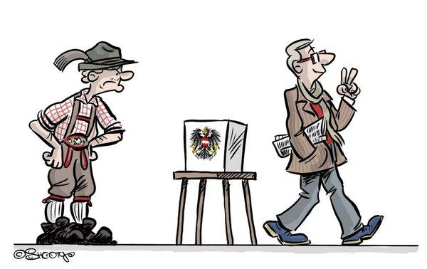 V apríli sa tešila z výsledku viedenská kaviareň. Radosť však netrvala dlho. Najvyšší súd rozhodol o opakovaní volieb 2. októbra. ILUSTRÁCIA- SHOOTY