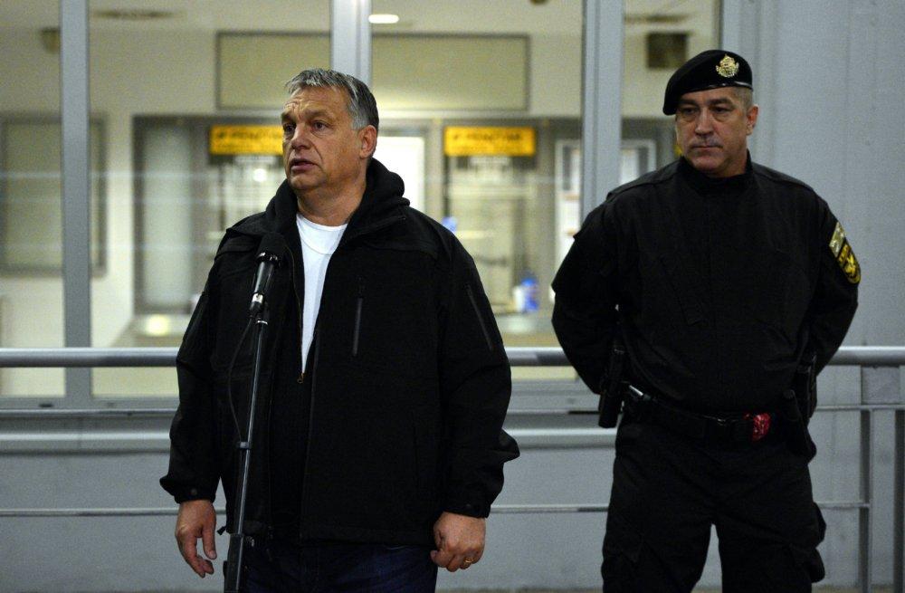 Maďarský premiér Viktor Orbán na tlačovke o protiteroristickej operácii. FOTO - TASR/AP
