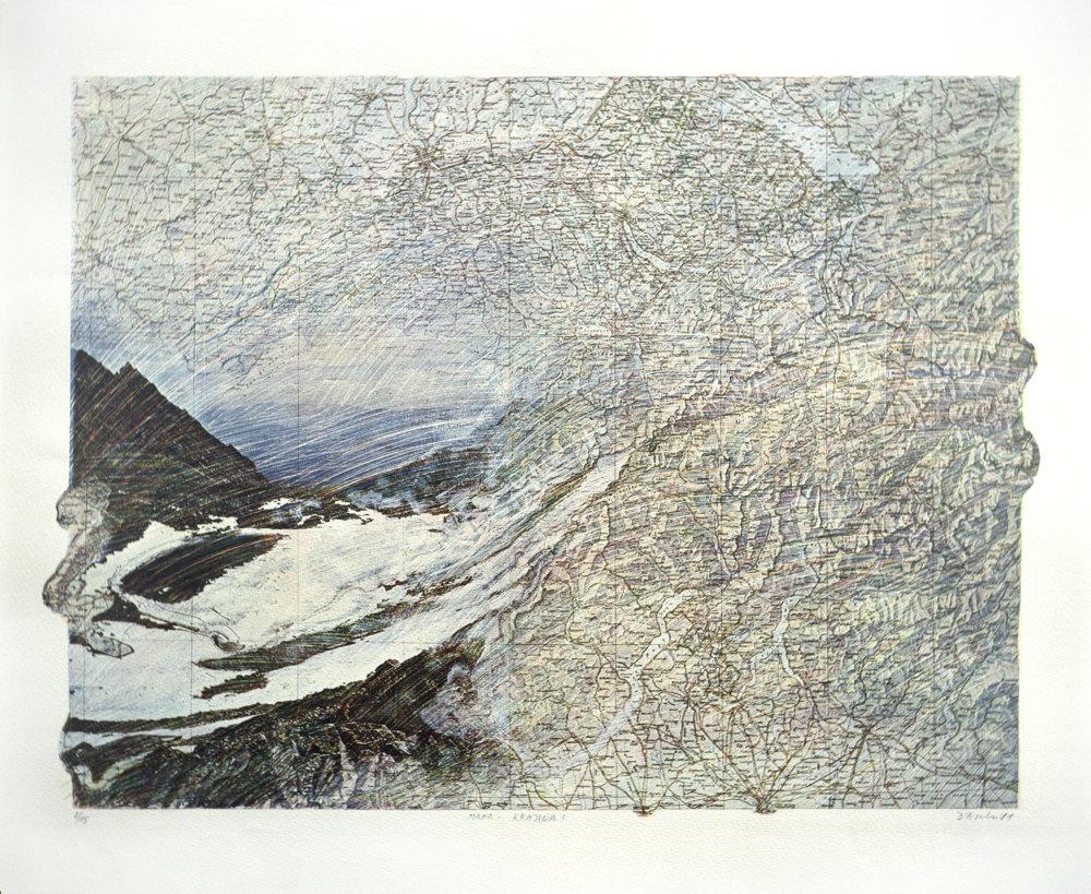Daniel Fischer: Zobrazenia 3 (mapa-krajina), 1981.