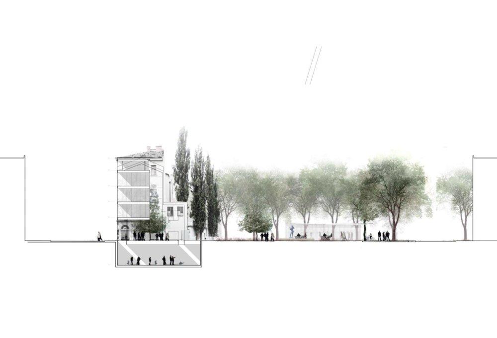 Štúrovu ulicu by mohla podľa plánu uzatvárať štvorpodlažná budova, rokuje o nej združenie Camera Obskura, architektonický plán na ňu zatiaľ nemá. Vizualizácia - f&b cc