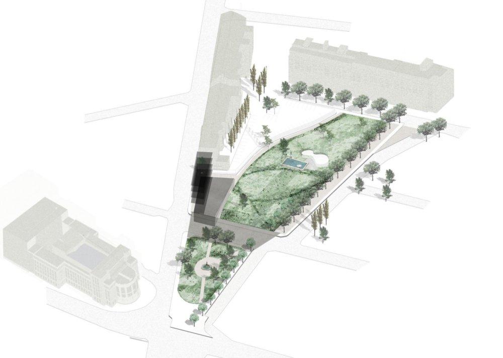 Návrh ateliéru f&b cc, ktorý sa bude na budúcirealizovať. Zo Šafárikovho námestia urobí plnohodnotný park so živou zónou pre kultúrne akcie na mieste, kde ústi Dobrovičova ulica a kde boli kedysi zastávky autobusov. Momentálne návrh prechádza pripomienkami. Na mieste, kde je nakreslená štvorpodlažná budova by mala vyrásť galéria projektu Camera Obskura, ktorá rokuje s magistrátom o rozlohe pozemku. Autori návrhu: Ing. Boris Hrbáň a f&b cc – Dipl. Ing. arch. Hans-Michael Földeak, M. Sc.; Malia Bennaceur, architecte dplg; Juliette Guichard, architecte hmonp. Vizualizácia - f&b cc