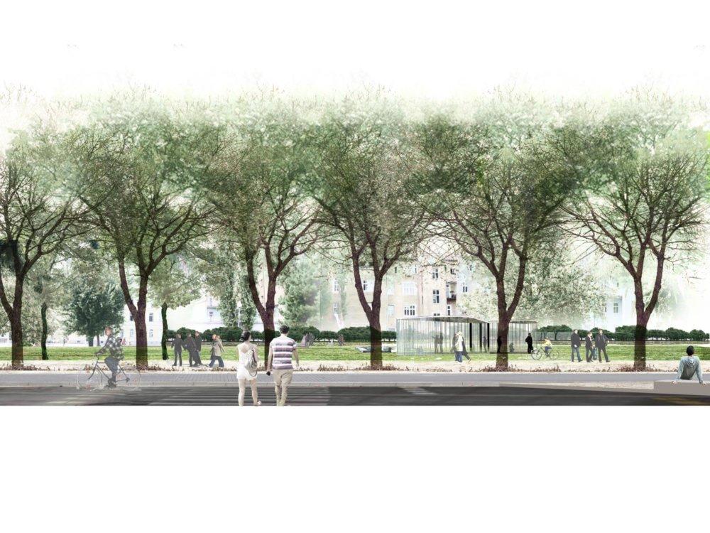 Pohľad na letný pavilón od Alžbetínskej ulice. Malo by ísť o vzdušnú architektúru so sezónnym využitím. Vizualizácia - f&b cc