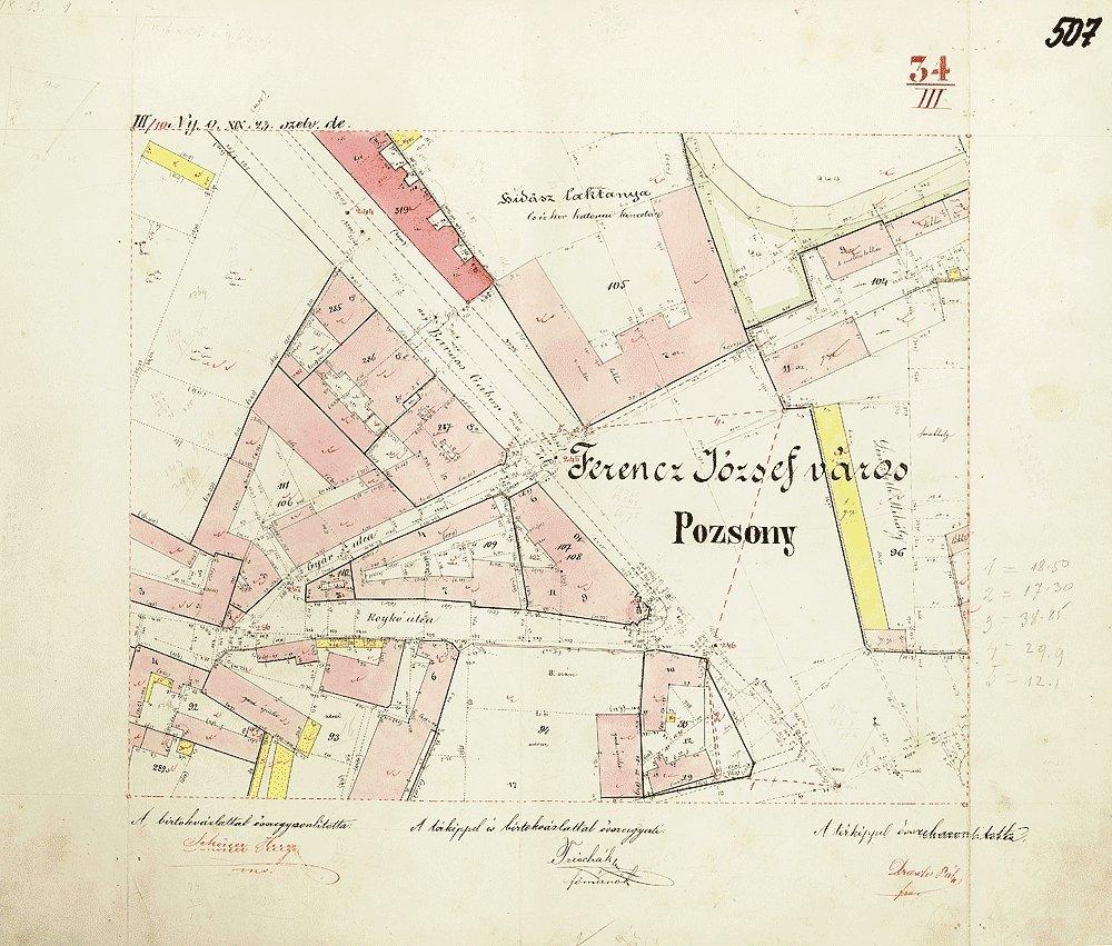 Katastrálna mapa z roku 1894, na ktorej vidno rozlohu Landererovho paláca.