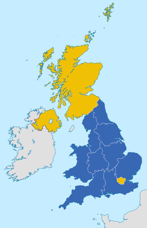 Škóti sa na brexit pozerajú s nevôľou. Škótsko (62 %) spolu so Severným Írskom (55,8 %) a Londýnom (59,9 %) hlasovalo v referende 2016 za zotrvanie Spojeného kráľovstva v Európskej únii. Zdroj – Furfur, Wikimedia Commons