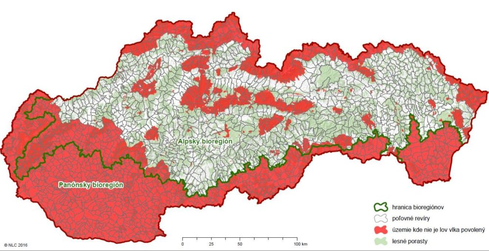 Mapa lovu vlka. Zdroj: Národné lesnícke centrum Zvolen