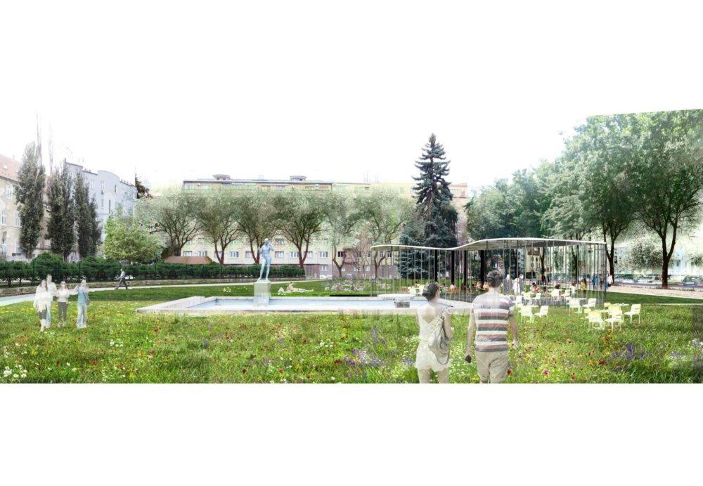 Pri fontáne by mal vyrásť jednoduchý letný pavilón. Vizualizácia - f&b cc