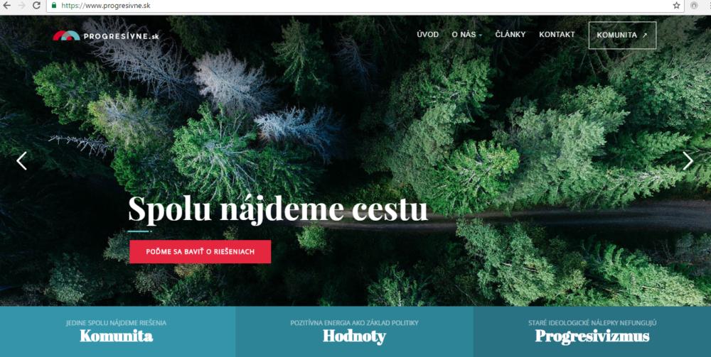 Web Progresívneho Slovenska. Zdroj - progresivne.sk
