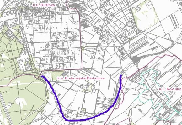 Výsledná trasa diaľnice pri Slovnafte podľa katastrálnej mapy.