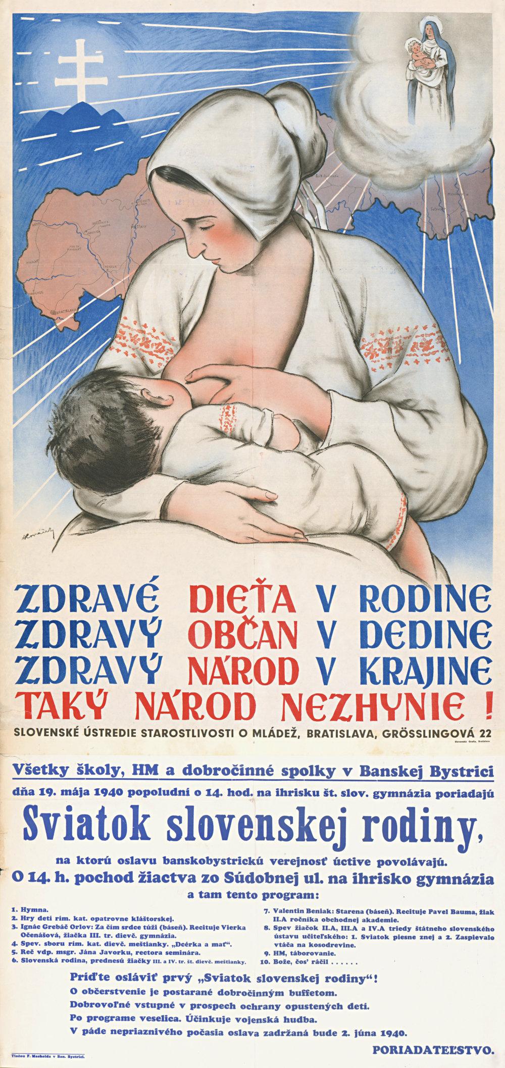 Zdravé dieťa vrodine... (autor: Andrej Kováčik). 1940. Plagát. Štátny archív vBanskej Bystrici, Banská Bystrica