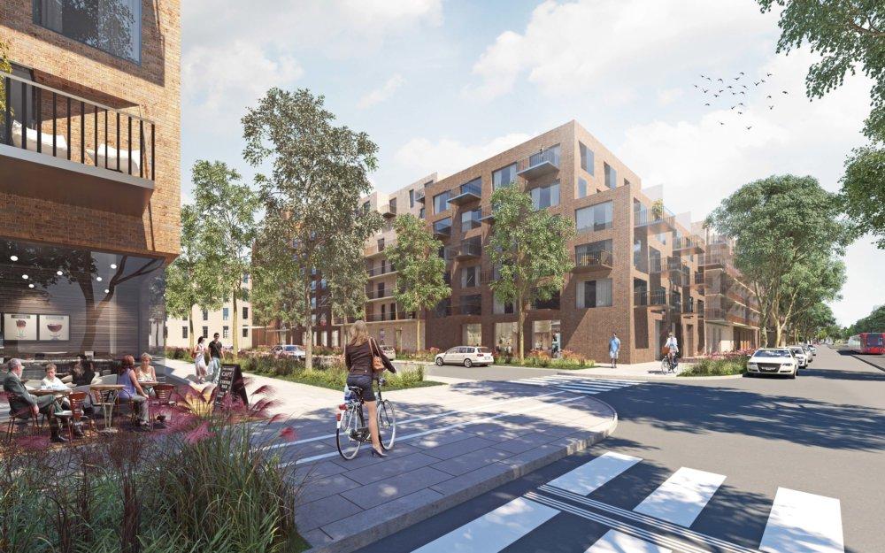 Nová rezidenčná štvrť má byť otvorená voči svojmu okoliu, ráta s bytmi, službami aj administratívou. Vizualizácia - Compass Architekti
