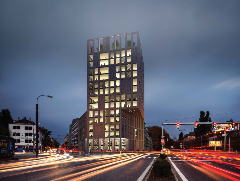 Územný plán Bratislavy ráta s výškovou budovou na križovatke s ulicou Svätoplukova, víťazný návrh zohľadňuje parametre nastavené územným plánom. Vizualizácia - Compass Architekti