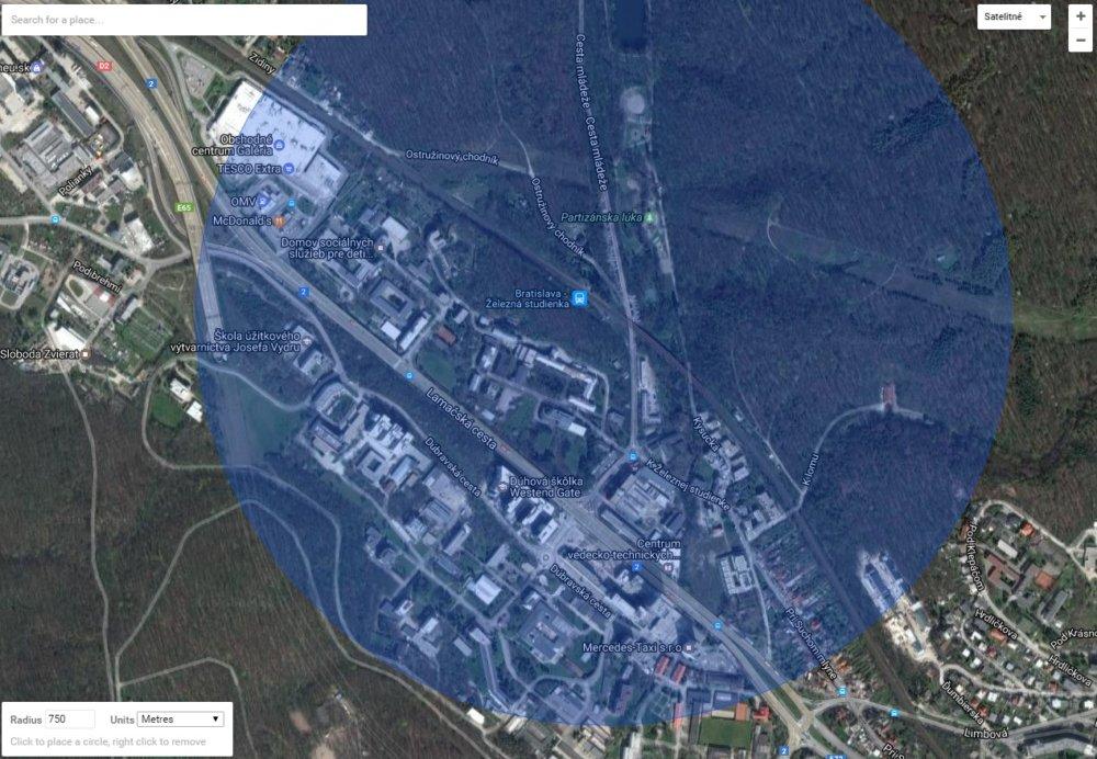 Rádius 750 metrov stanice Železná studienka - pešia dostupnosť do 10 minút