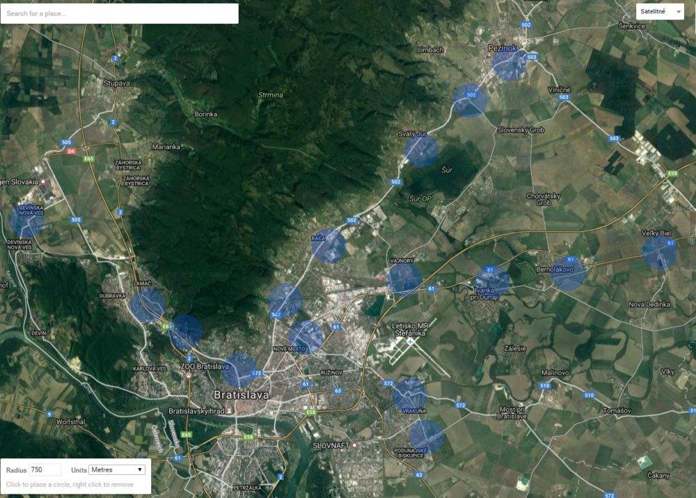 Rádius 750 metrov železničných staníc v Bratislave a okolí