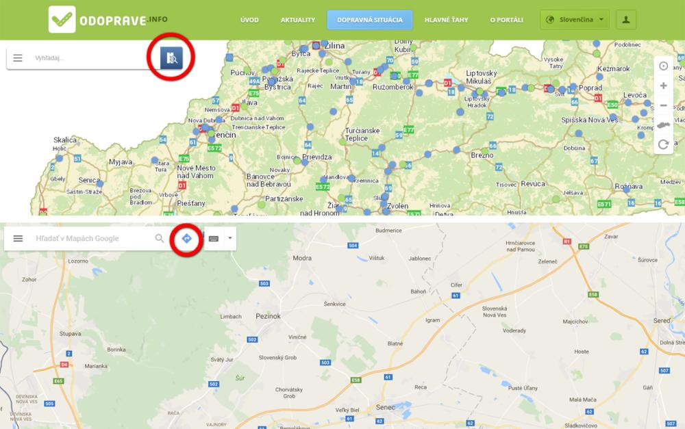 Hore štátny web s ikonkou lupy. Dole Google Maps, ktoré okrem lupy používa aj ikonku šípky na vyhľadávanie trasy.