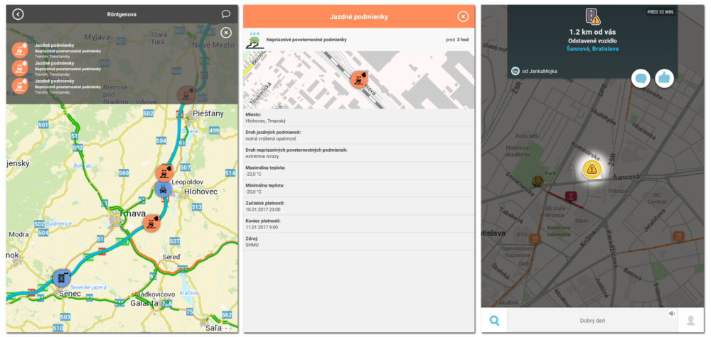 Aplikácia o doprave by dokázala zobraziť podobnosti o dopravnej situácii aj priamo na mape (vľavo), väčšinou si ich však prečítate až na samostatnej stránke (obrázok v strede). Aplikácia Waze ich vie elegantne zobraziť priamo na mape (vpravo)