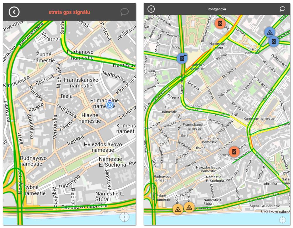 Vľavo mobil bez GPS signálu, vpravo tablet so signálom, hoci nás lokalizuje úplne inde, ako v skutočnosti sme. Na mobile nemáme informácie o žiadnych problémoch s dopravou, na tablete upozornenia vidíme.