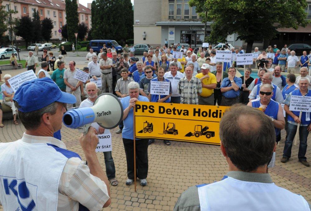 Protest strojárov z roku 2008 - štrajky a protesty majú v tomto meste tradíciu. foto - TASR