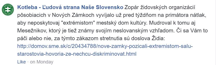 Antisemitský príspevok ĽSNS na straníckom Facebooku.
