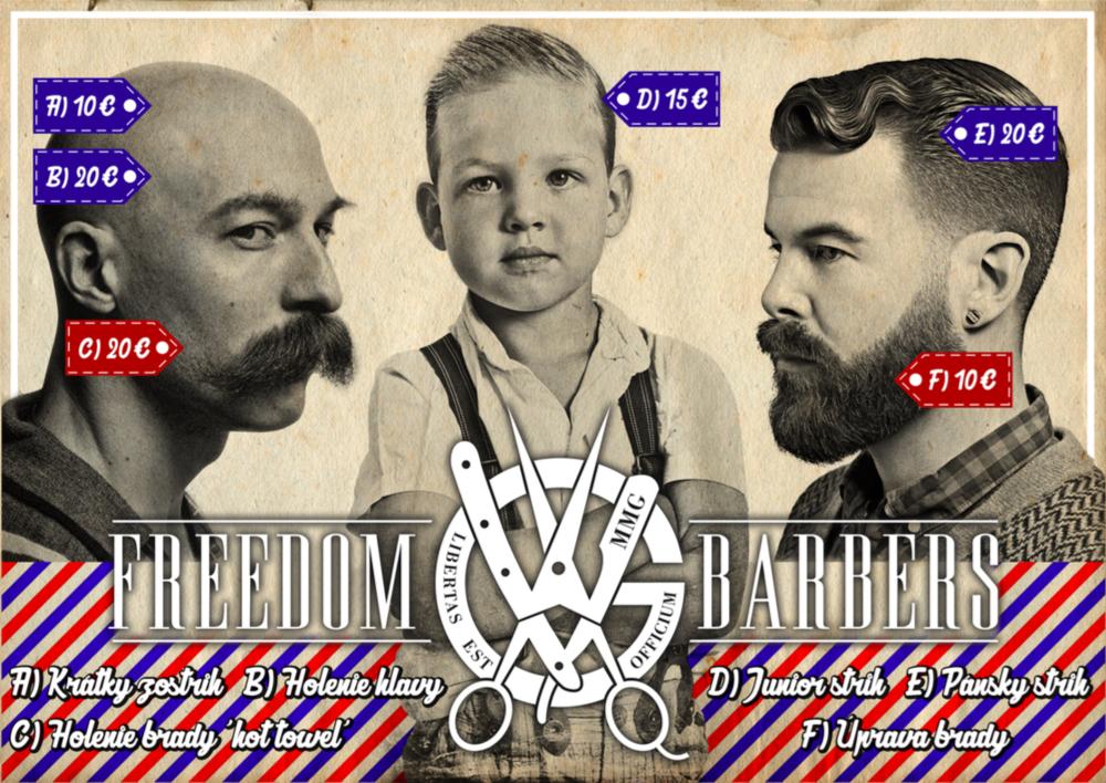 Cenník v MMG Freedom Barbers.