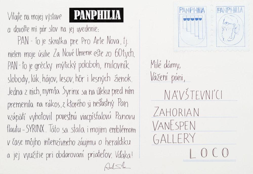 Z poslednej výstavy Panfília v bratislavskej galérii Zahorian & Van Espen. Názov Panfília, pochádzajúci z gréckeho pan (všetko) a philia (milovať), naznačoval lásku ku všetkému, otvorenosť voči všetkému, čo je možné milovať. Vidieť sa tam dali najmä rôzne nerealizované projekty, existujúce výhradne vo forme návodov a inštrukcií, napríklad koncerty pre fiktívny orchester, fiktívne hudobné vydavateľstvo a listiny opatrené fiktívnou autorskou heraldikou.