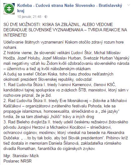 Zdroj - FB Kotleba - Ľudová strana Naše Slovensko - Bratislavský kraj.