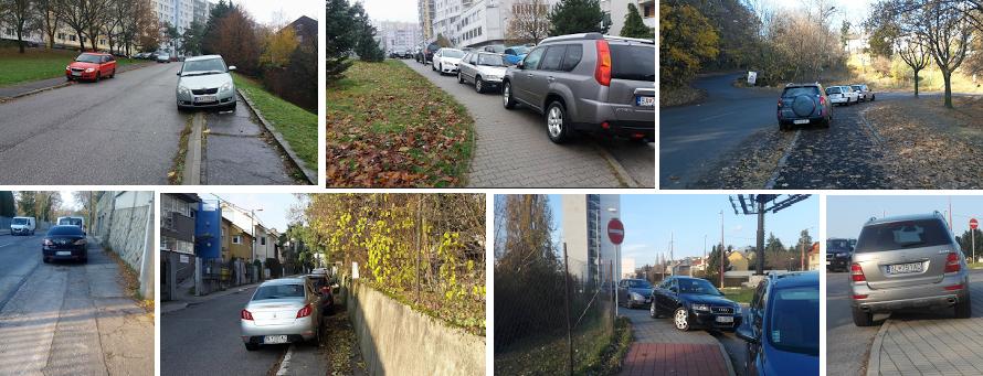 Ako parkujú autá v Karlovej Vsi. Foto z mapy
