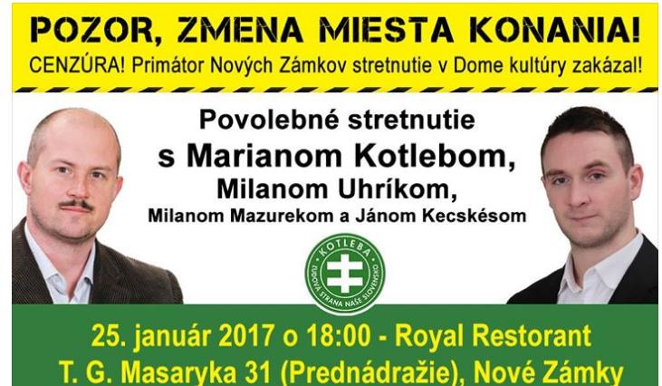 Pozvánka na míting. Facebook Kotleba - Ľudová strana Naše Slovensko