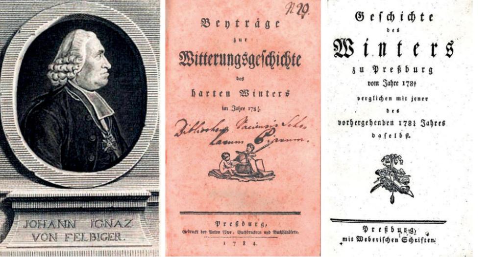 Portrét Felbigera a dve brožúrky, ktoré napísal po pozorovaní počasia v Bratislave. Zdroj - Melo a spol, 2015