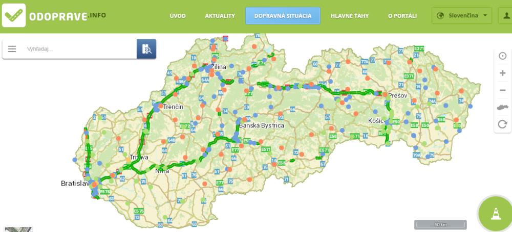 Cesty na Slovensku v utorok popoludní podľa odoprave.info