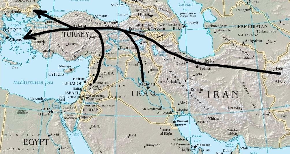 Východná stredomorská migračná trasa vedie cez Turecko do Grécka, prípadne Bulharska. Začína sa v Sýrii, Iraku či Afganistane. Zdroj – Wikimedia Commons (upravené)